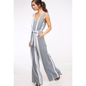 Pants - NWT Wide Leg Blue & White Striped Jumpsuit